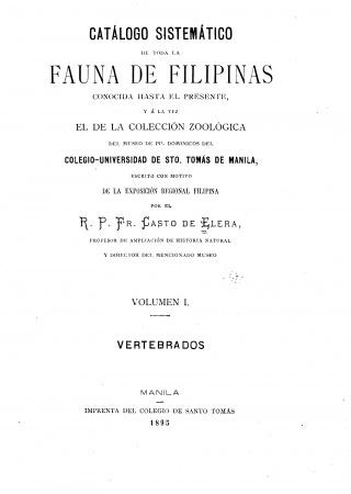 Catálogo sistemático de toda la fauna de Filipinas conocida hasta el presente