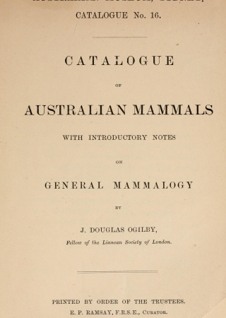 Catalogue of Australian mammals