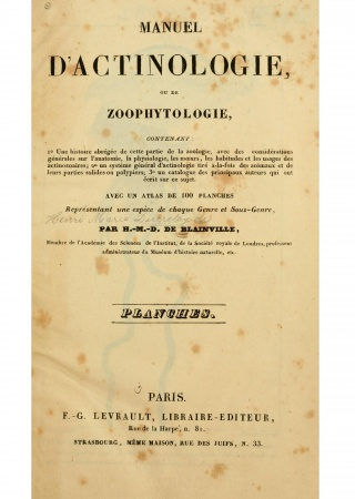 Manuel d'actinologie ou de zoophytologie