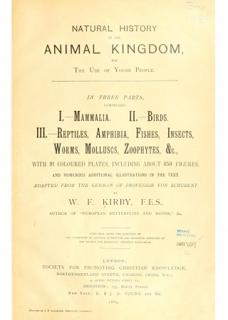 Natural history of the animal kingdom for the use of young people