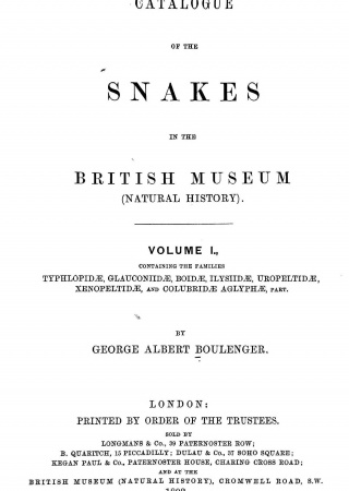 Catalogue of the snakes in the British Museum (Natural History)